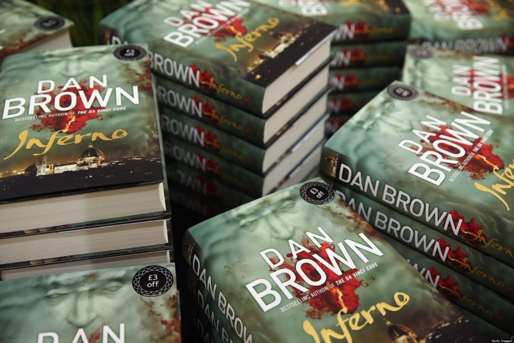 LONDON, ENGLAND - MAY 14:  The new novel 'Inferno' by author Dan Brown is displayed in a Waterstones book shop on May 14, 2013 in London, England. The  new book by the prize winning author is anticipated to one of the years best sellers.  (Photo by Dan Kitwood/Getty Images)