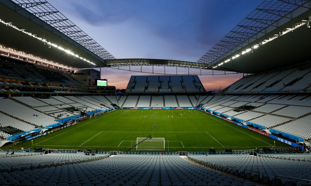 SAO PAULO, BRAZIL -  JUNE 08: General View of the Arena Corinthians Stadium during the match between Corinthians U20 v Corinthians U17 as part of the last technical test event on June 08, 2014 in Sao Paulo, Brazil. Sao Paulo will be hosting FIFA 2014 World Cup inaugural match on June 12. (Photo by Alexandre Schneider/Getty Images)