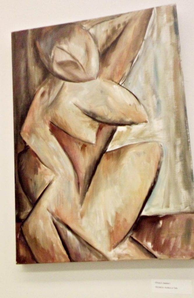 Pintura de Carina que lembra formas cubistas. Foto: Débora Bandeira