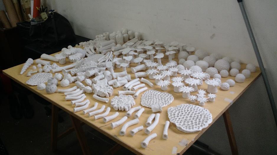 Esculturas de corais no ateliê de Beatriz Chachamovits.Foto: Luiza Amaral.