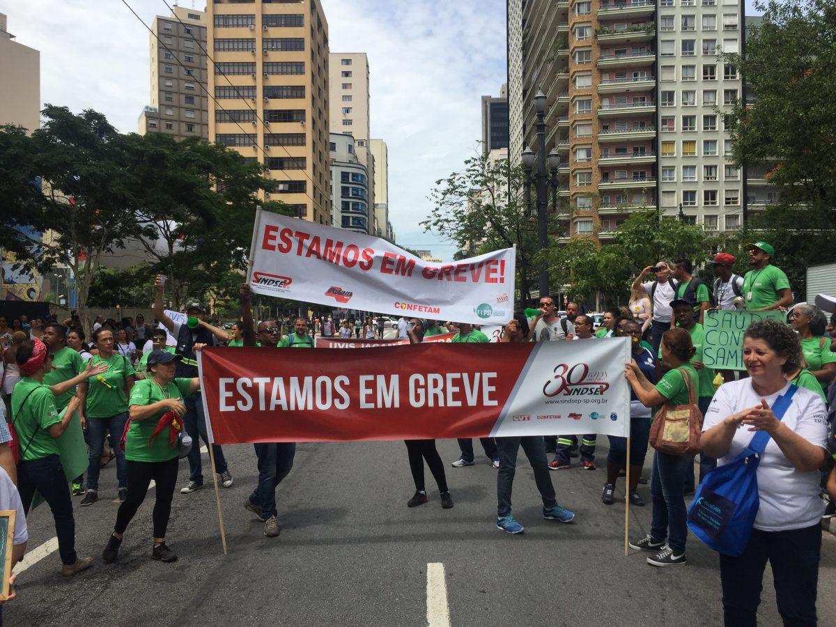 A Greve de funcionários públicos contra privatização
