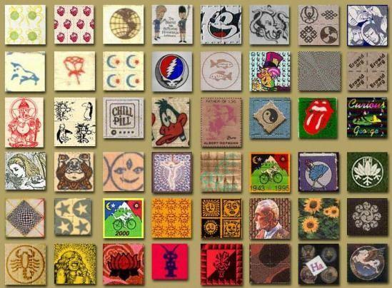 O LSD é vendido, qua sempre, como pequenos quadrados com um papel colorido por cima.