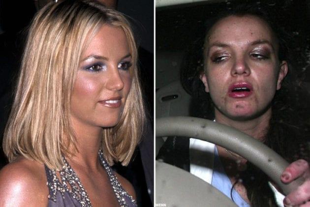 Britney Spears antes e depois das drogas.