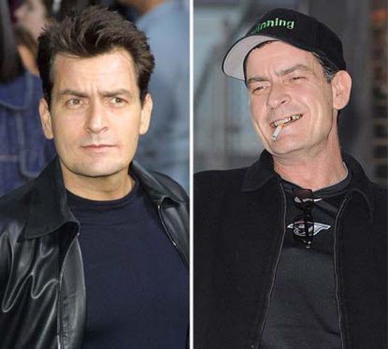 Charlie Sheen antes e depois das drogas.