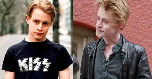Macaulay Culkin antes e depois das drogas.