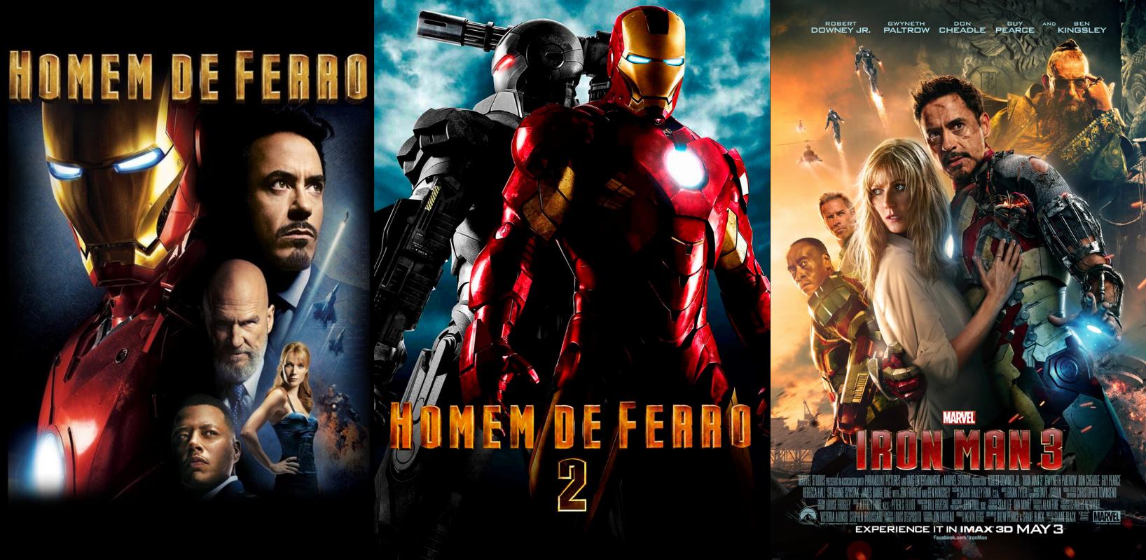 Homem de Ferro é uma franquia com 3 filmes em sequência.