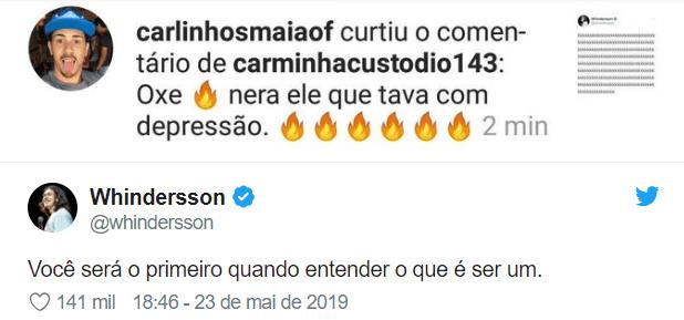 Briga entre Carlinhos Maia e Whinderson Nunes repercute na internet.