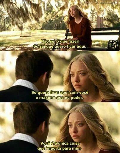 Imagem do filme Querido John, dialogo entre casal no parque. Ela diz pra ele que ele é a única coisa que importa para ela.