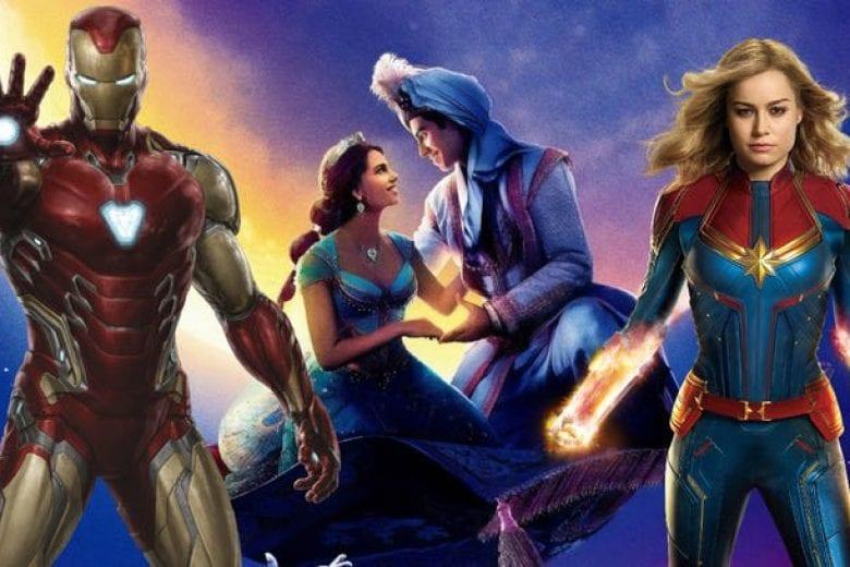 homem de ferro, capitã marvel e aladdin