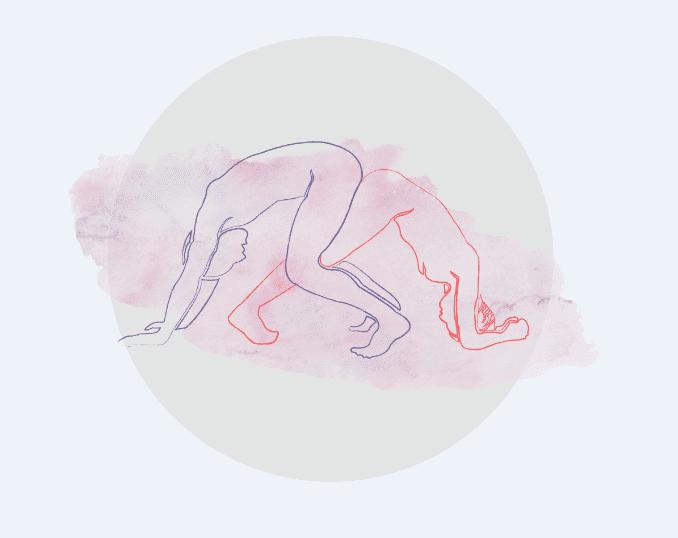 A posição sexoal mais cansativa do Kamasutra, para amantes atletas.