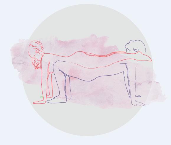 Essa posição exige força nos braços e resistência física dos parceiros.