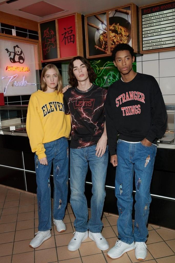 modelos com roupas da linha levis stranger things