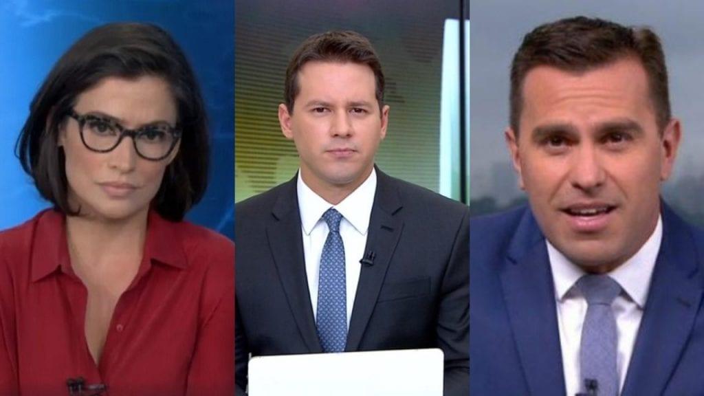 Dony de Nuccio, Renata Vasconcellos e Rodrigo Bocardi, jornalista da TV Globo, envolvidos em polêmica de contrato com o banco Bradesco