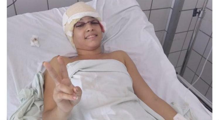 Débora no hospital após acidente de Kart