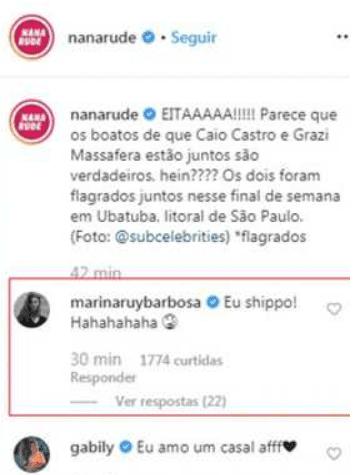 Marina Ruy Barbosa fala sobre Caio Castro e Grazi Massafera