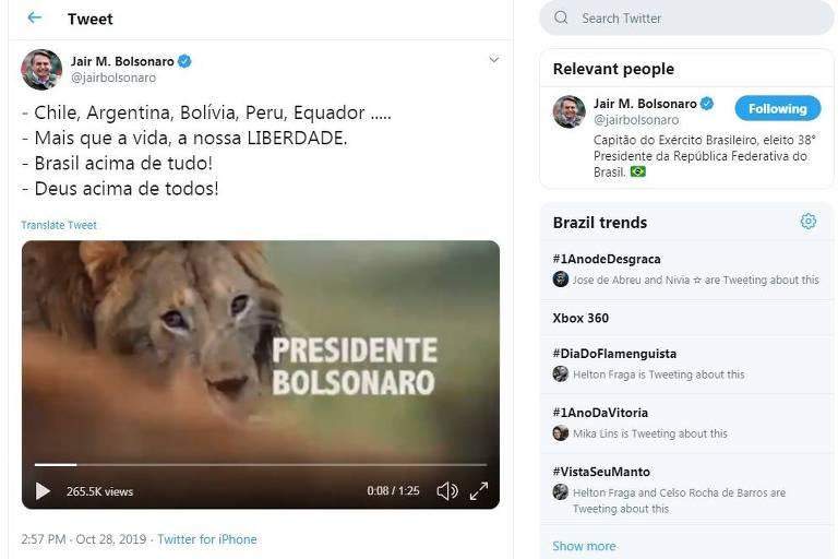 Bolsonaro compara PT e feministas com hienas