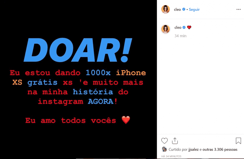 Hacker do Instagram de Cleo Pires