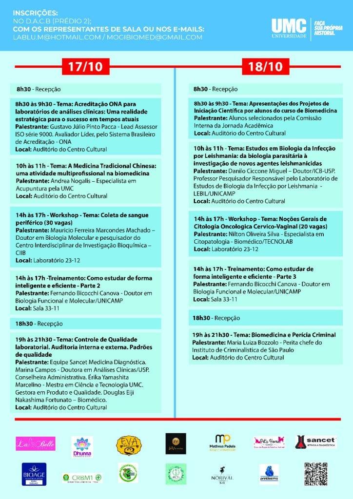 Nos dias 16, 17 e 18 de outubro, das 8h às 22h será realizada a XXXVI  Jornada acadêmica de biomedicina da UMC – Campus Mogi das Cruzes