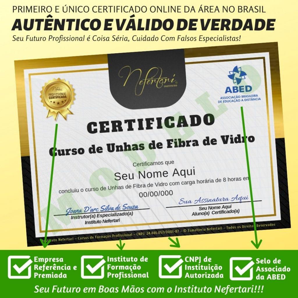 Certificado de: ESPECIALISTA EM TÉCNICA DE UNHAS DE FIBRA DE VIDRO