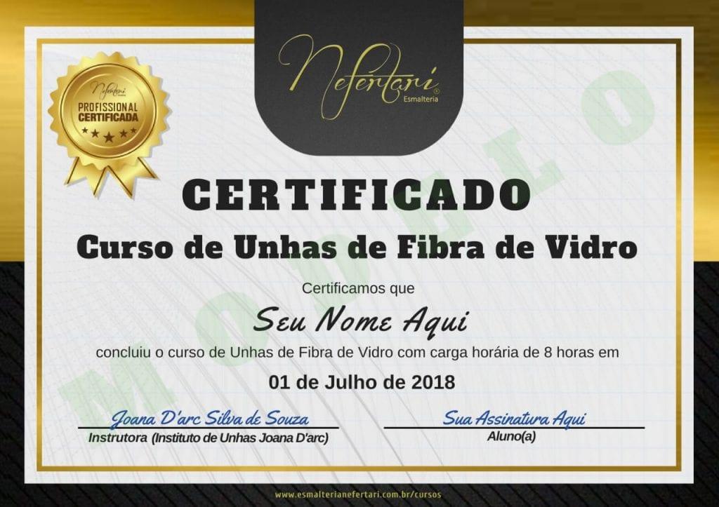 Certificado Curso Unhas de Fibra de Vidro