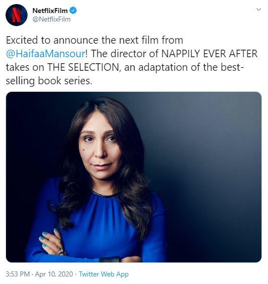 Tradução: Animados por anunciar o próximo filme de @HaifaaMansour! A diretora de Nappily Ever After (Felicidade Por Um Fio) assume A Seleção, uma adaptação da saga de livros mais vendidos.