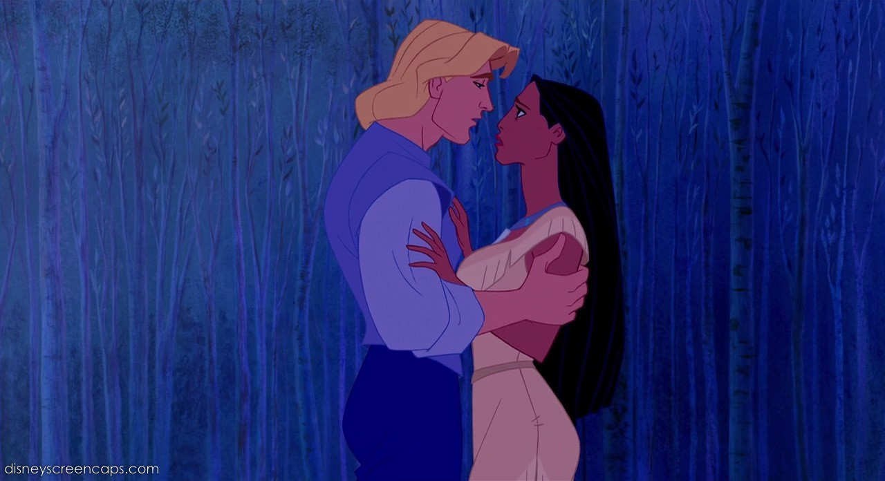 beijo de Pocahontas e Johns Smith