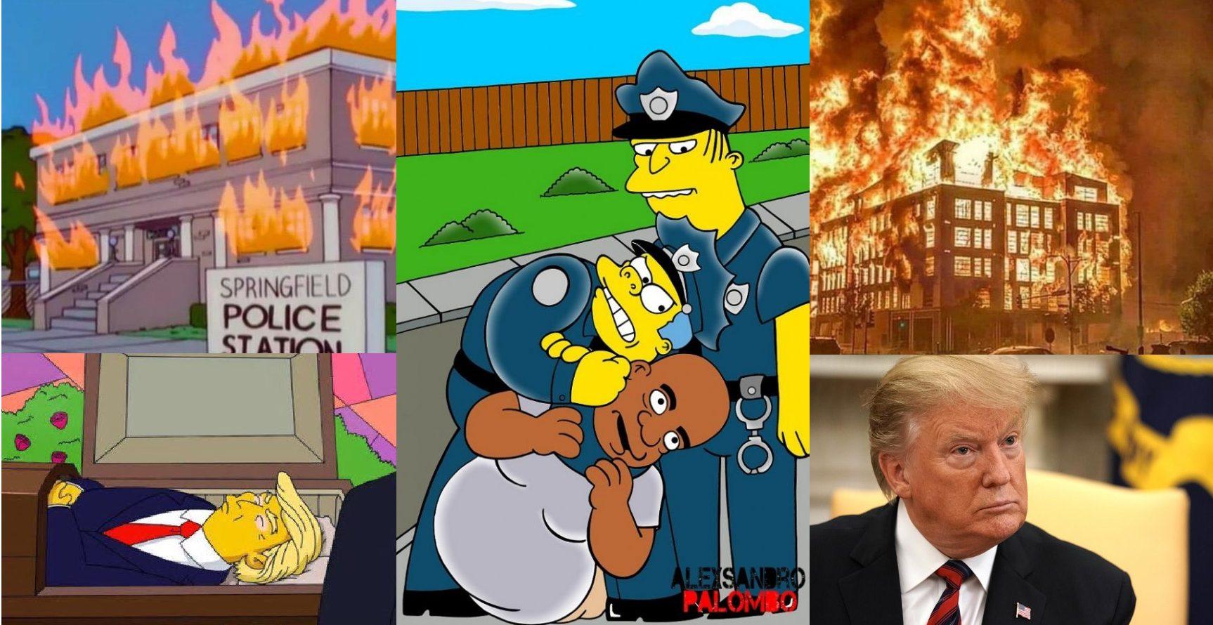 Simpsons previram Casa Branca apagada, fogo no quartel de polícia e a morte de George Floyd?