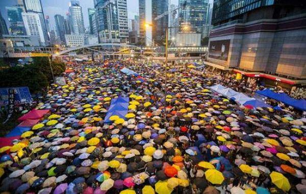 guarda-chuva na manifestação de hong kong