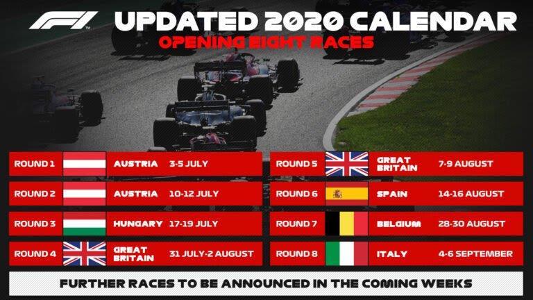 calendário de corridas fórmula 1
