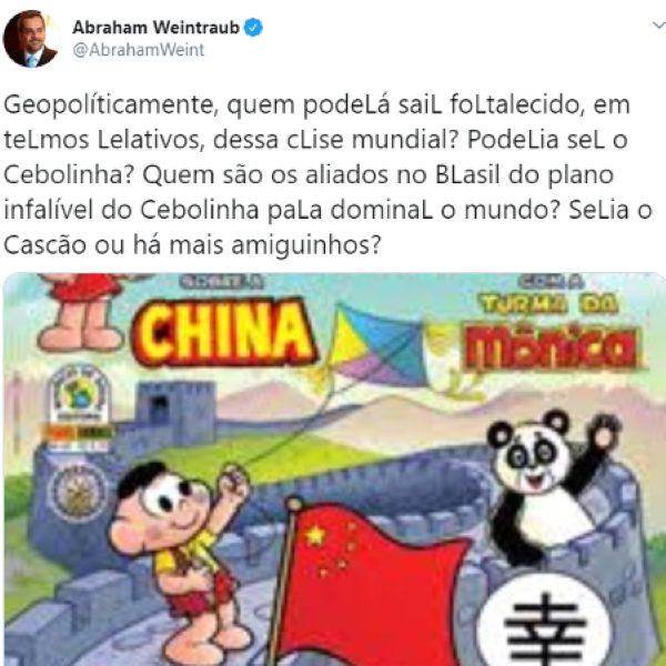 Weintraub ofende chineses no Twitter