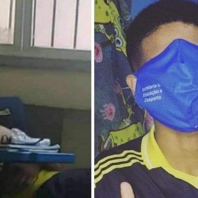 Jovens em Manaus brincando com a máscara dada pelo governo. Foto: https://g1.globo.com/am/amazonas/noticia/2020/08/12/estudantes-do-am-aparecem-com-mascara-gigante-e-descumprindo-medidas-contra-covid-19-em-publicacoes-nas-redes-sociais.ghtml