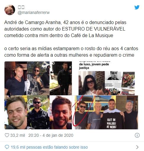 Tweet de Mari Ferrer expondo o rosto de seu estuprador. FOTO: https://revistanossa.com.br/Artigos/Caso-de-blogueira-estuprada-em-famoso-beach-club-catarinense-e-assunto-nas-redes-sociais
