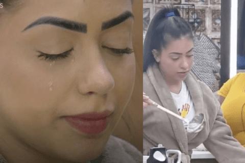 Após discussão com Jojo Todynho, Mirella chora. Internautas lembram choros de Babu, de BBB20, para comparar a reação do público.