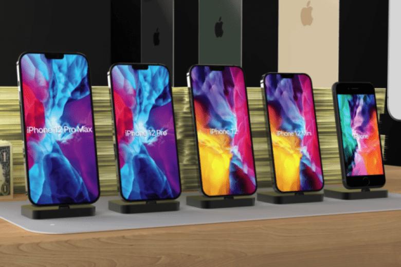 A nova geração de iPhones oferece quatro modelos distintos. O último à esquerda é um aparelho SE. Foto: Apple