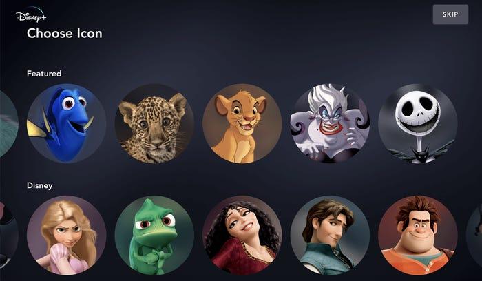 Os ícones dos perfis da Disney Plus são nossas personagens favoritas - Foto: Reprodução.