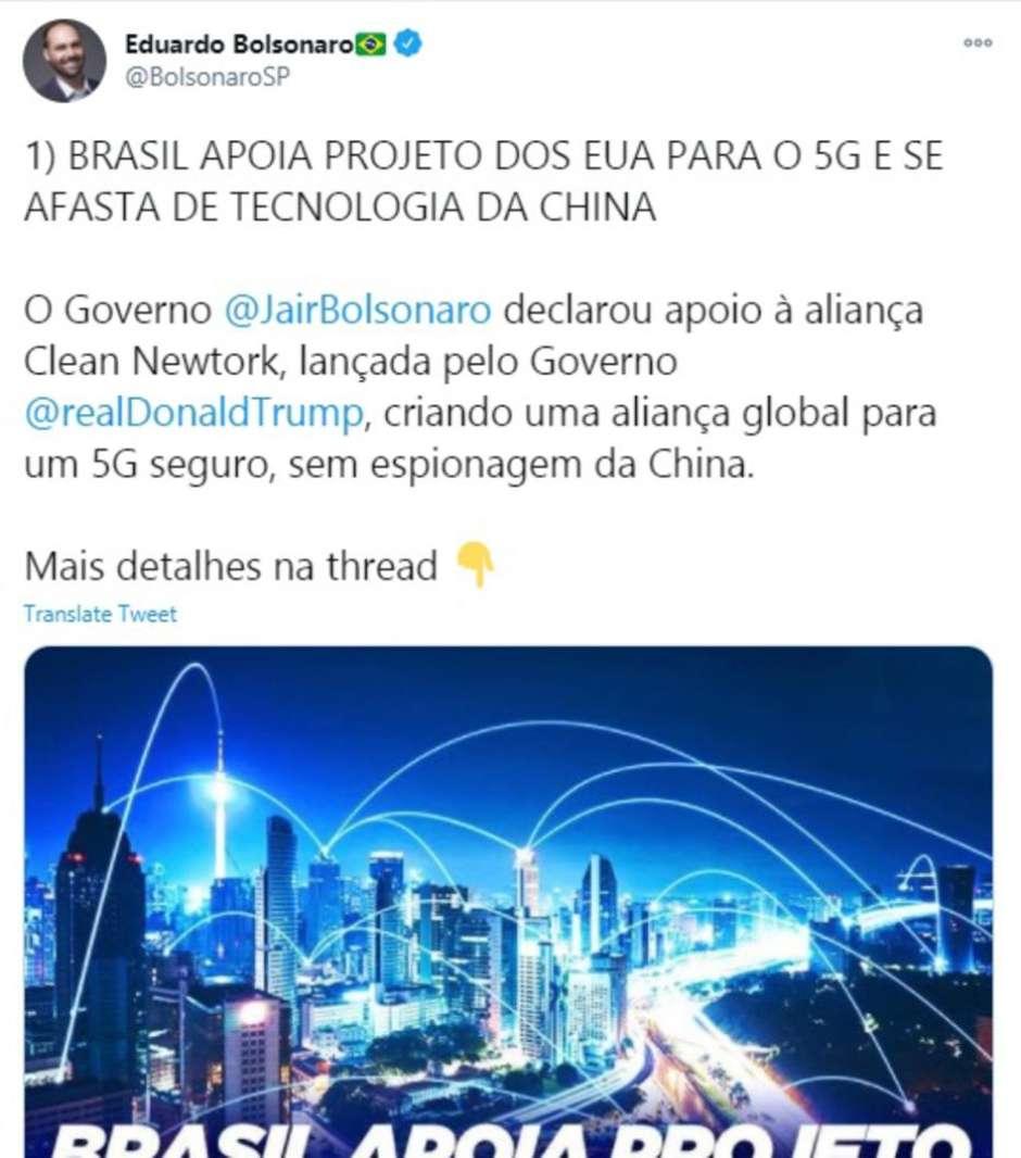Em sua publicação, Eduardo Bolsonaro acusa o Governo Chinês de espionagem