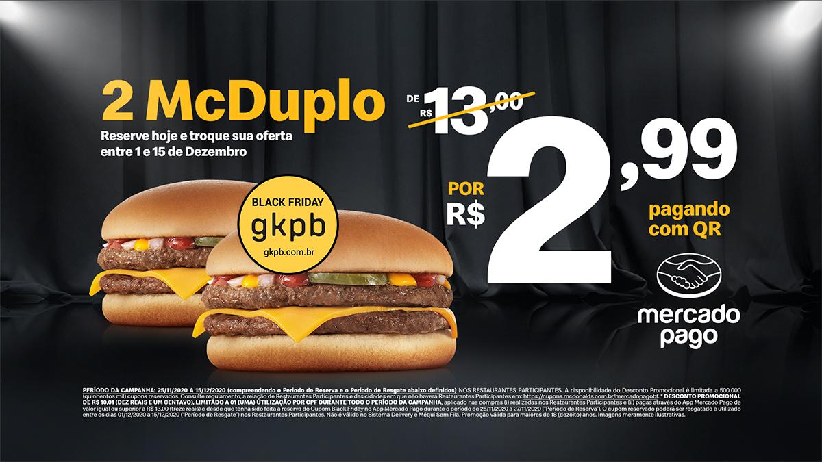 O McDonald's está com promoções de Black Friday em parceria com o Mercado Pago.