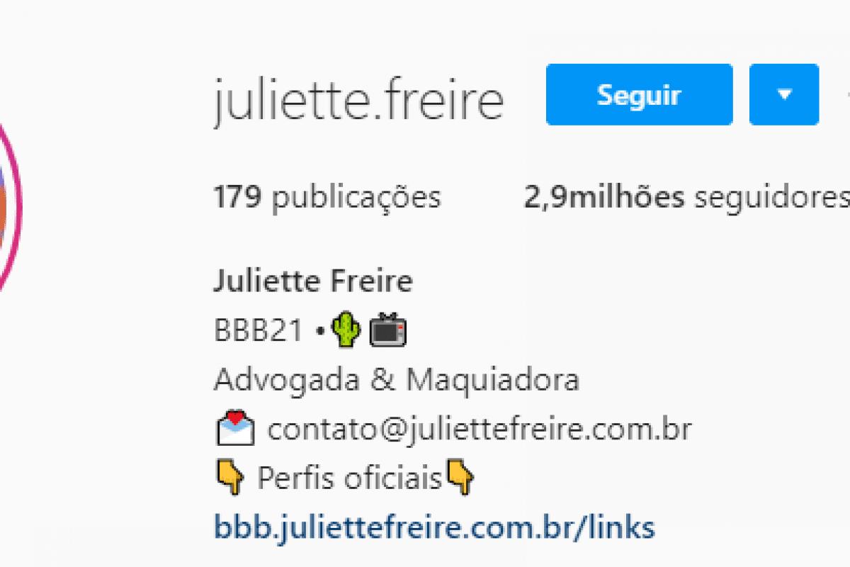 Juliette Freire, participante do BBB21, está perto dos 3 milhões de seguidores.
