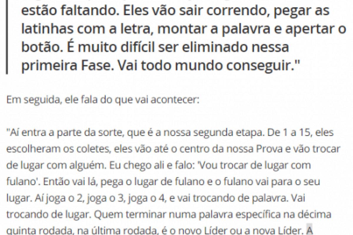 Regras divulgadas pela Globo e pelo BBB21 sobre a prova do Líder.