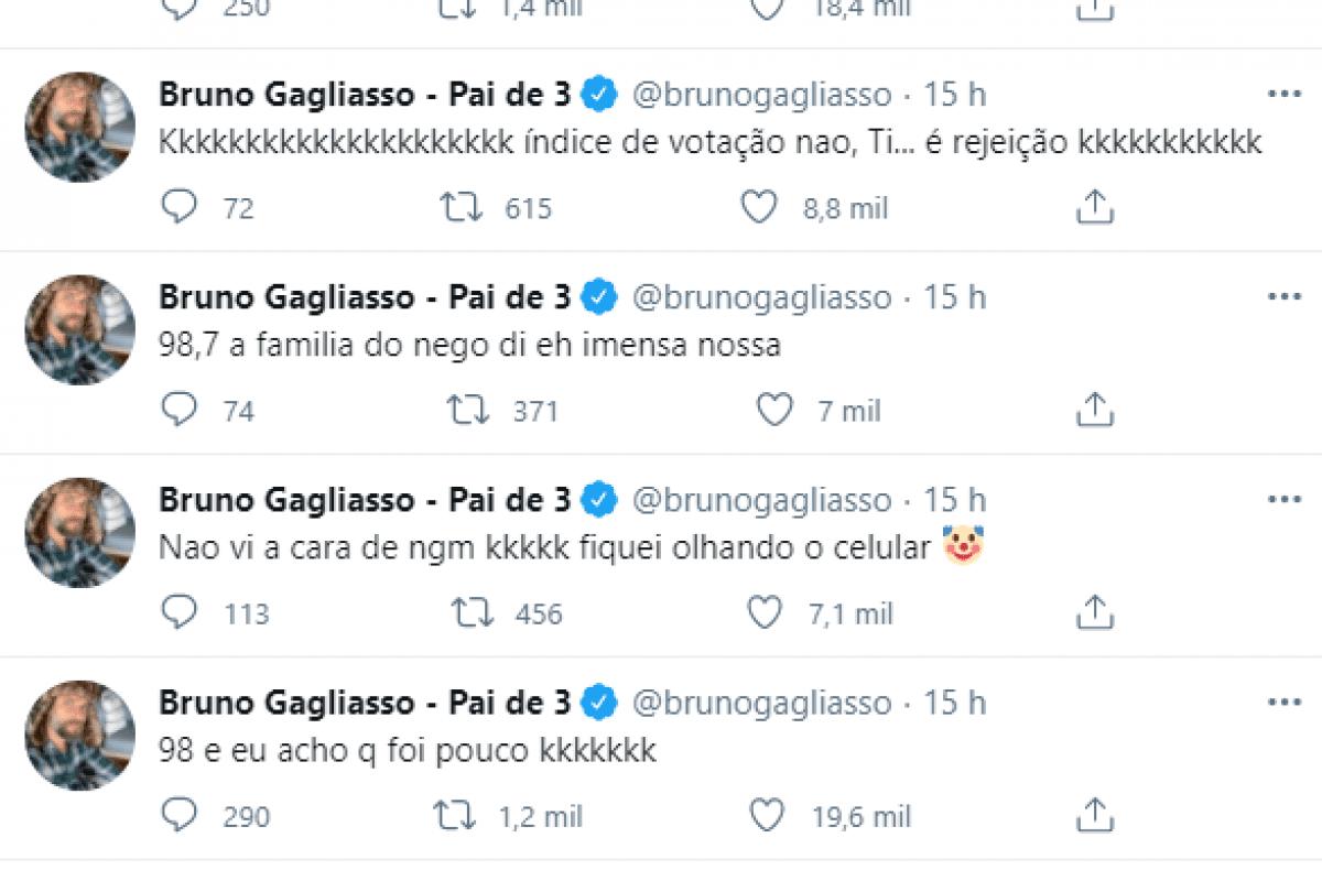 Bruno comemorou a eliminação de Nego Di do BBB21.