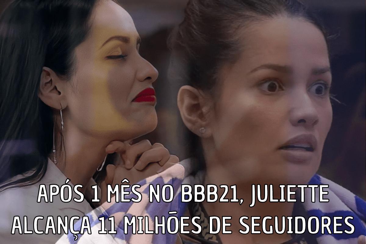 Após 1 mês no BBB21, Juliette alcança mais de 11 milhões de seguidores