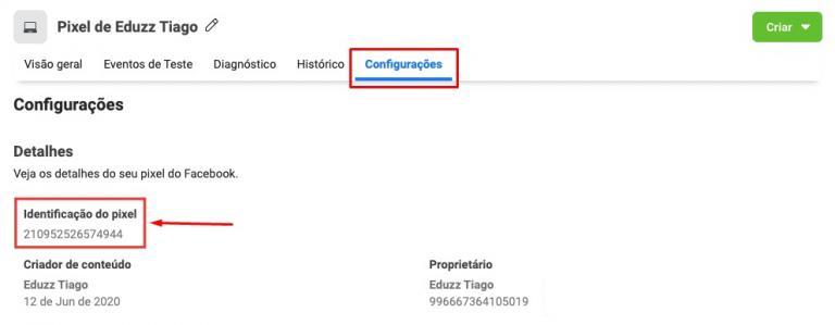 Para identificar o pixel, acesse a plataforma do Facebook e localize em configurações.
