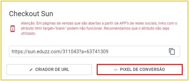 """Clique em """"Pixel de Conversão"""" para continuar o processo."""