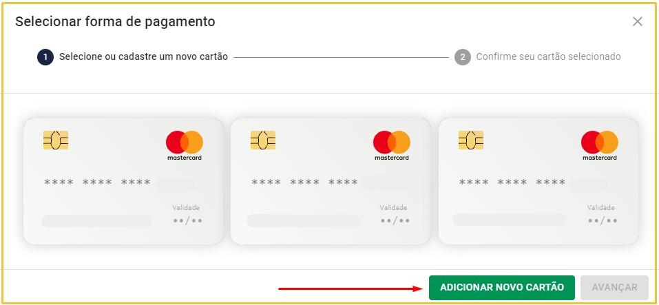 Adicione o cartão de crédito que substituirá o antigo método de pagamento.