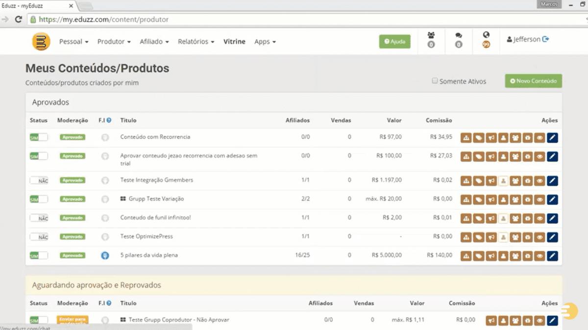 """Para configurar a recorrência de seus produtos Eduzz no cartão de crédito acesse """"Meus Produtos"""".   Foto: Reprodução/Eduzz."""