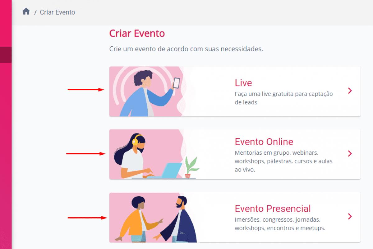 Escolha o evento que deseja criar dentro da plataforma Blinket, da Eduzz.
