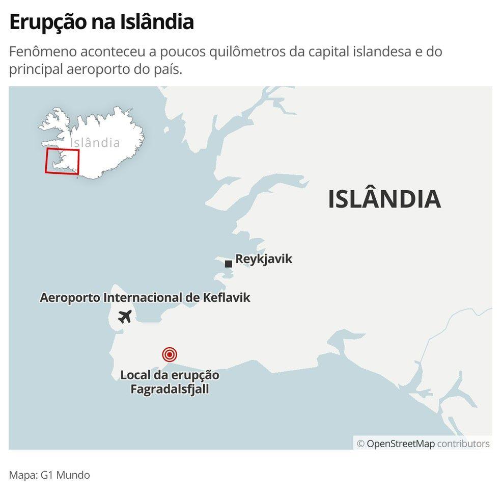 erupção na Islândia