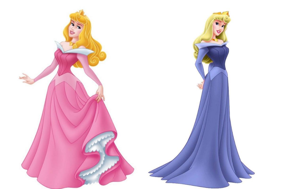 A Princesa Aurora possui duas cores de vestidos, rosa e azul.