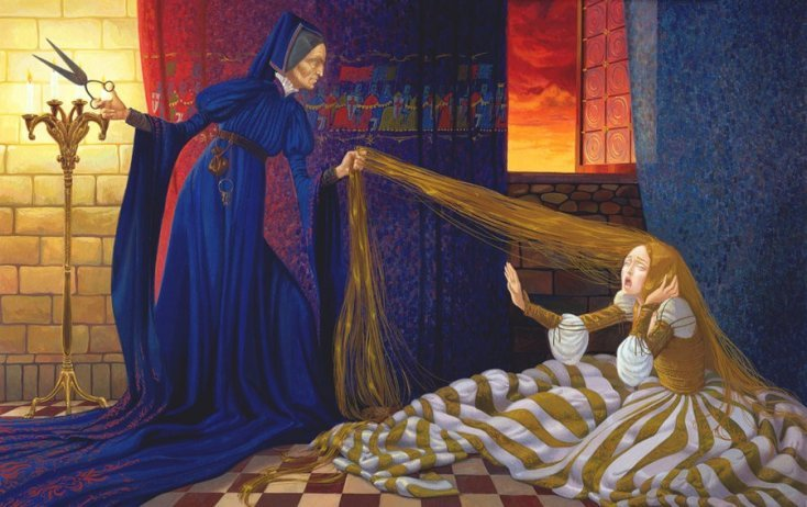 Rapunzel é uma personagem baseada no conto homônimo dos Irmãos Grimm.