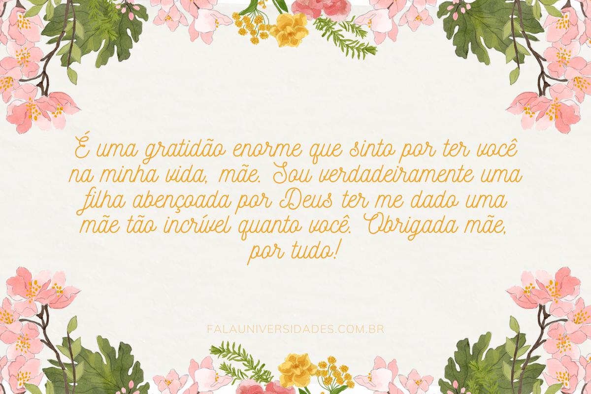 Mensagem de Agradecimento para as mães.